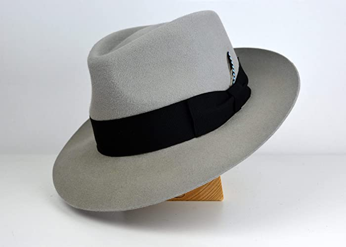 edaf7c116317f Amazon.com  The Hispano - Rabbit Fur Felt Teardrop Fedora - Medium Brim -  Men Women  Handmade