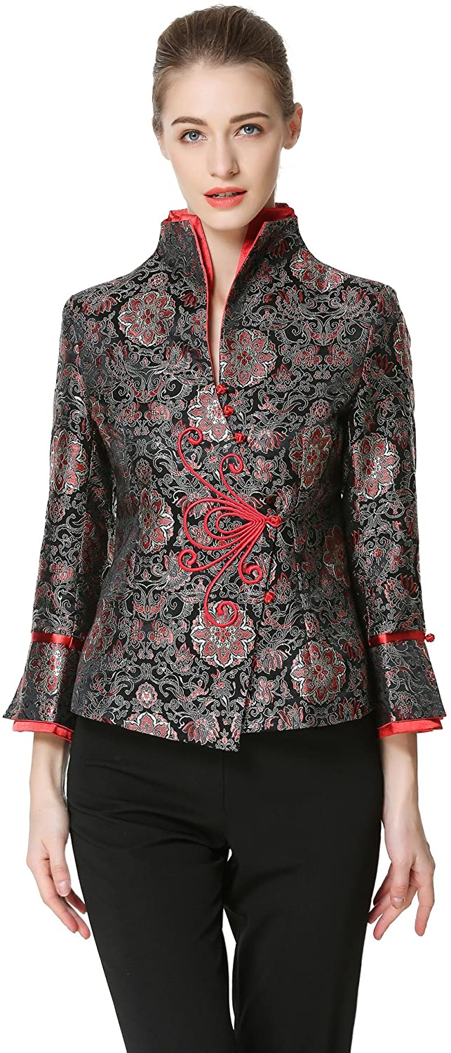 Bitablue Womens Lotus Chinese Brocade Jacket in Black