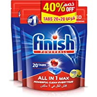 Finish Dishwasher Detergent All in One Tablets Lemon, 2x20 Tabs (Pack of 2) with 40% Off