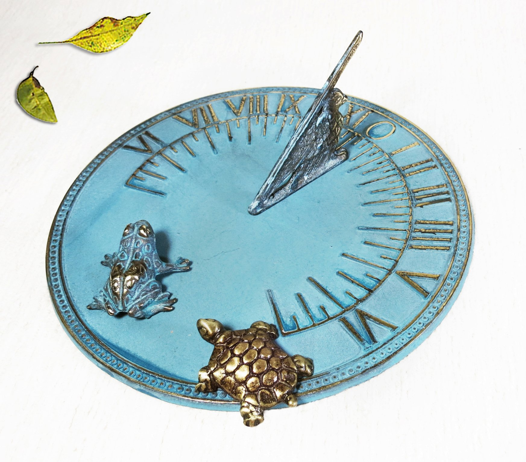 Decorative Brass Sundial 8'' inches wide - with 1 Little Frog & 1 Little Turtle