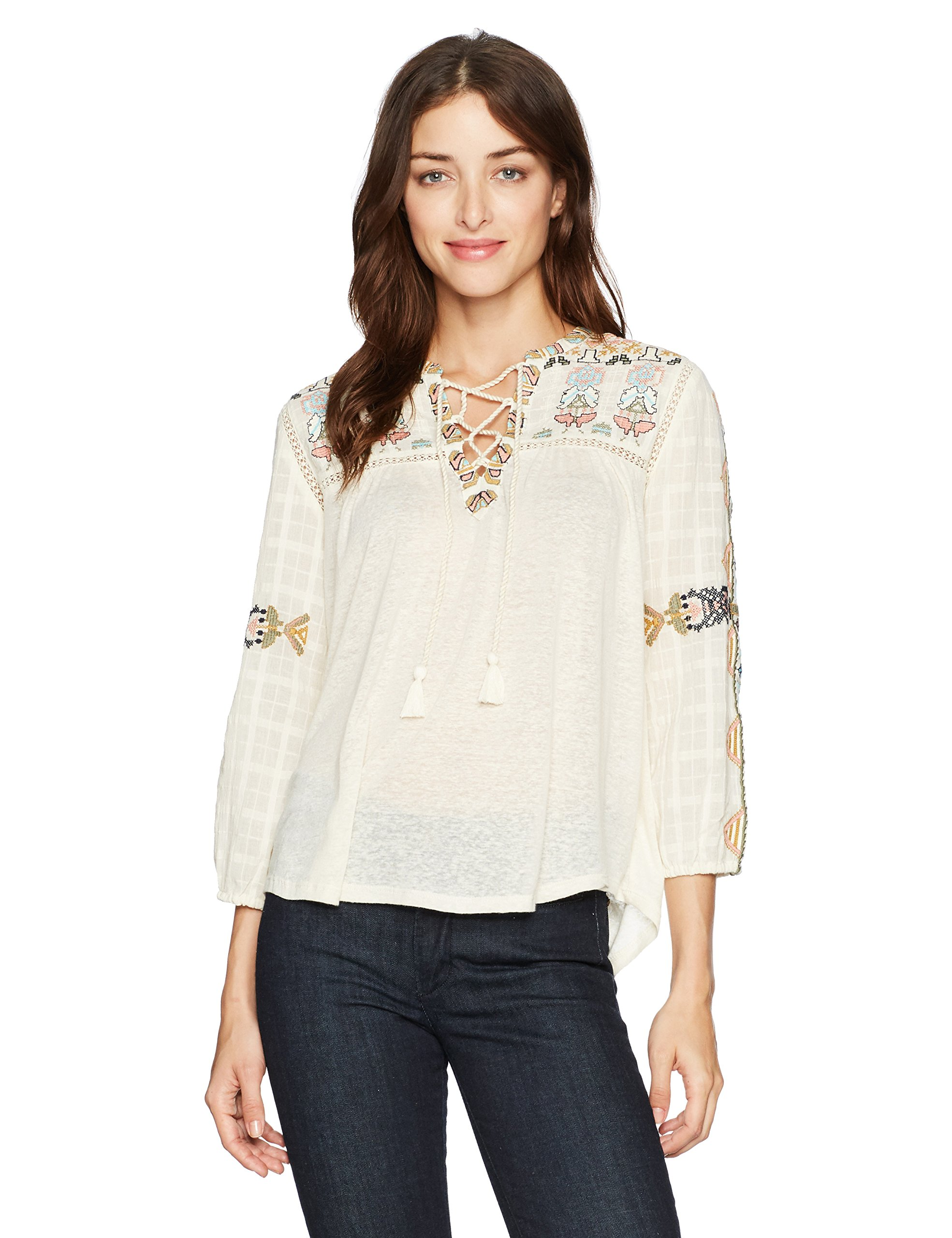 Lucky Brand Women's Lace up Embroidered Top, Natural, Small