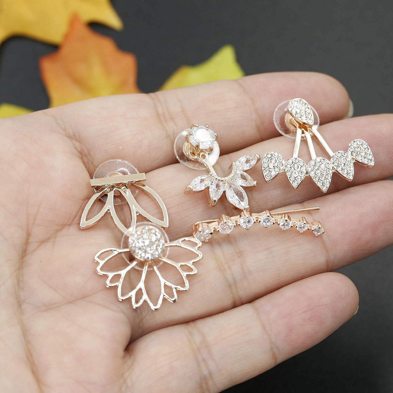 84b9d21d137f3 Milacolato 5 pairs Hollow Lotus Flower Ear Jackets For Women Girls ...