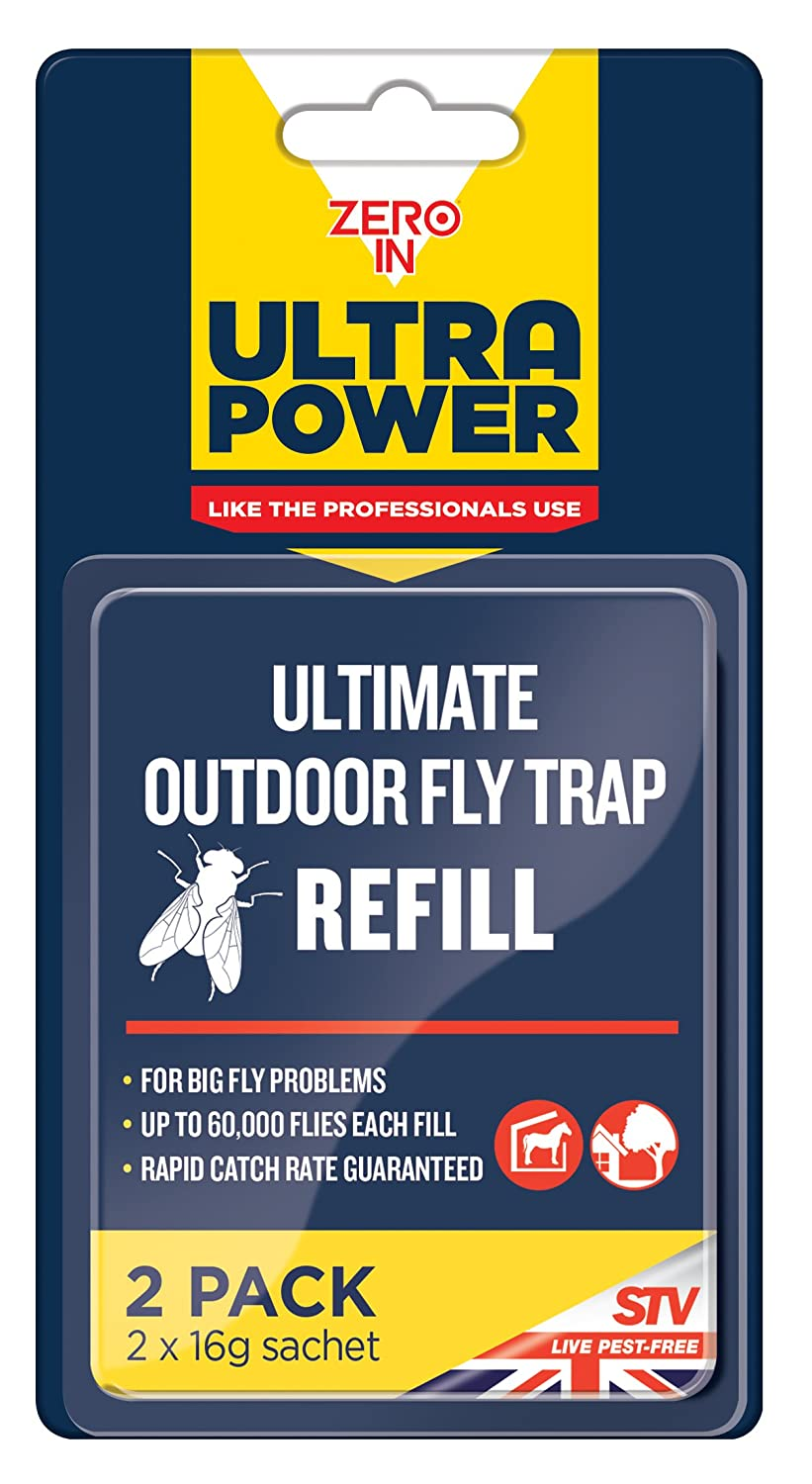 Zero In Ultra Power Ultimate Outdoor Fly Trap Bait Refill (Refill for Reusable Insect Catcher, Use in Gardens, Covers up to 10 m Radius, Effective Fly Bait) STV International Ltd ZER542