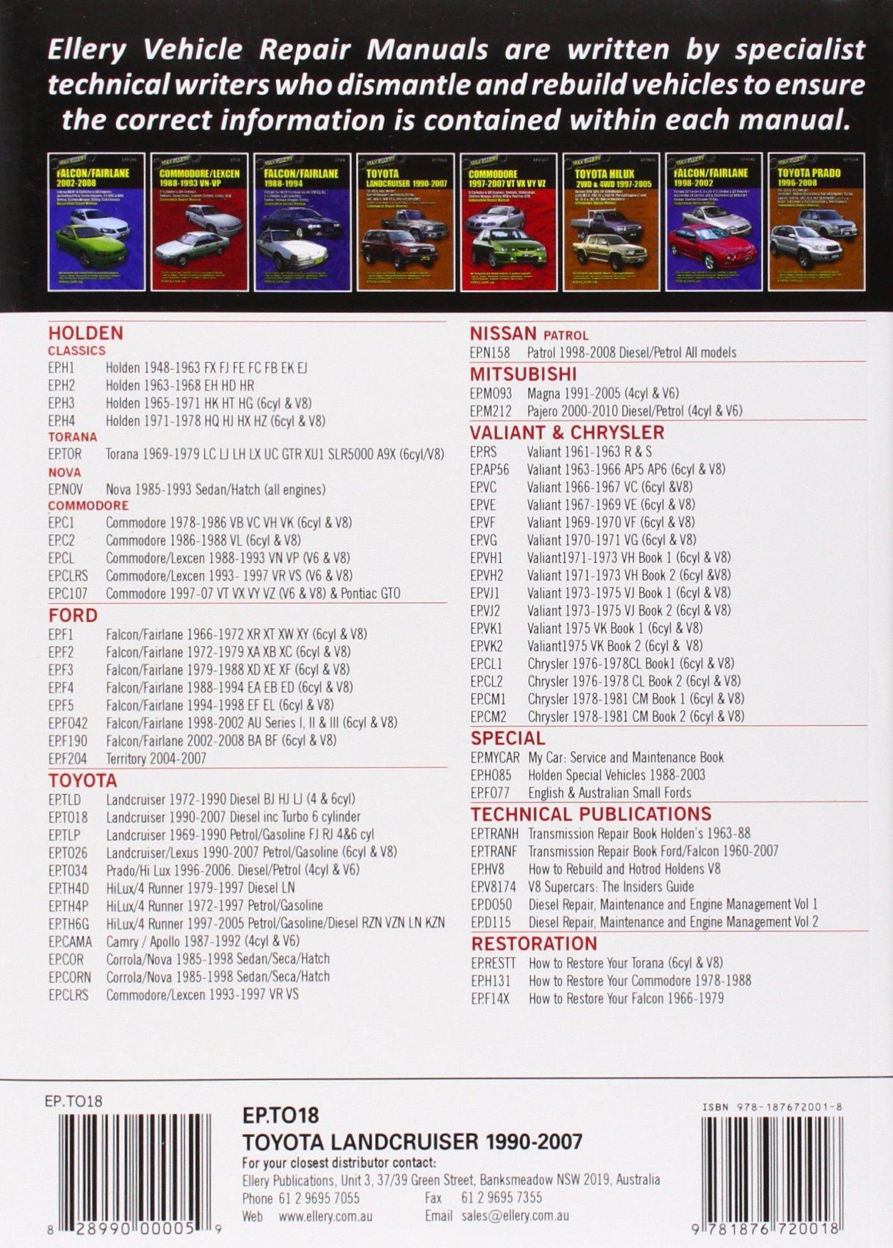 Toyota Landcruiser 1990-2007 Automobile Repair Manual: Diesel Engines Including Turbo: 70s, 80s, and 100s Series: Amazon.es: Max Ellery: Libros en ...