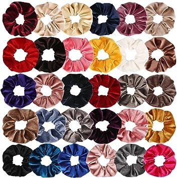 EAONE 20 Pack Velvet Hair Scrunchies Colorful Velvet Hair Ties Scrunchy Bobble
