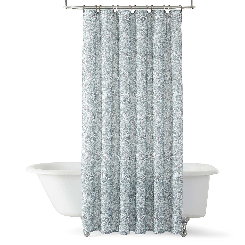 Royal Velvet Paisley Shower Curtain Blue Amazoncouk Kitchen Home
