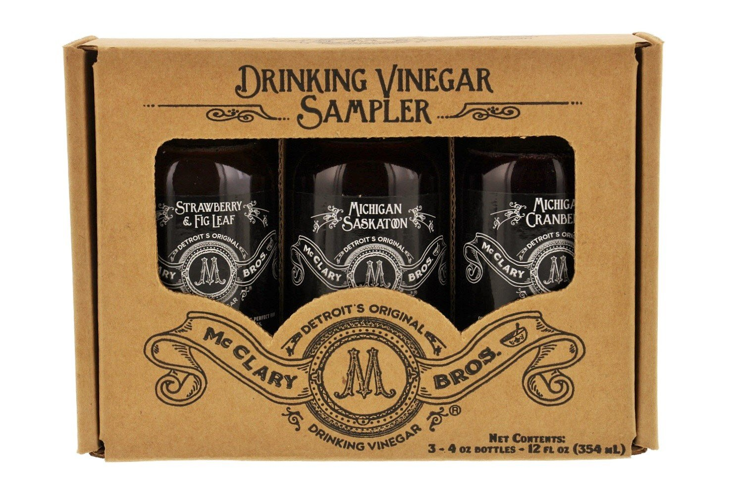 McClary Bros- 3 Bottle Drinking Vinegar Sampler: One 4oz bottle of Strawberry Fig Leaf, One 4oz bottle of Michigan Saskatoon and One 4oz bottle of Michigan Cranberry by McClary Bros. (Image #4)
