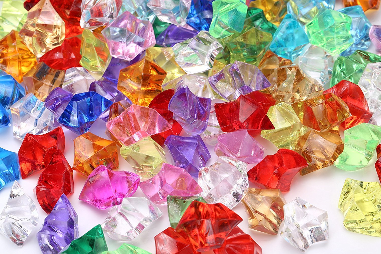 Yarssir 200PCS Acrylic Multicolor Ice Rock Crystals Treasure Gemstones for Table Scatters/Vase Fillers/Event/Wedding/Arts & Crafts/Birthday Decoration Favor