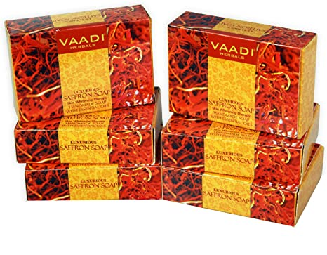 Bar Soaps Vaadi Herbals Lavish Almond Soap Cleanses Skin Keep Your Skin Soft 75g Pack Of 6