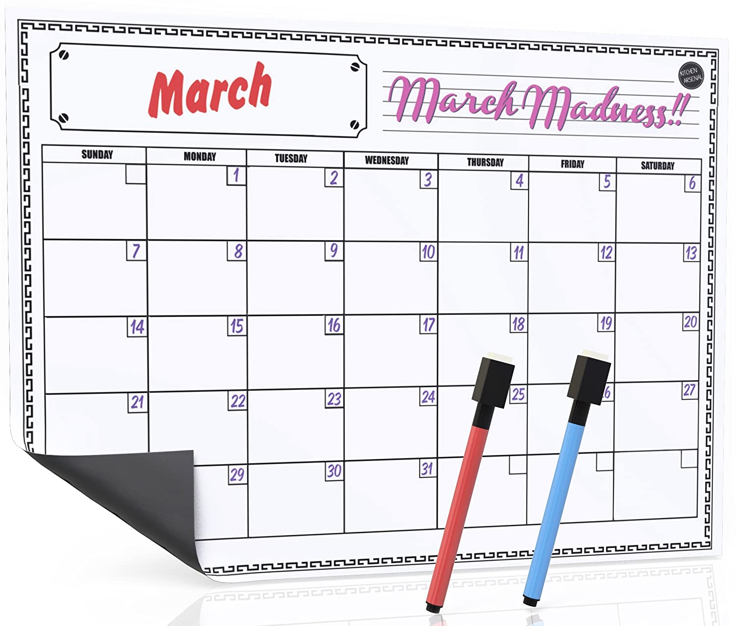 "16""x12"" Whiteboard Monthly Dry Erase Magnetic Calendar for Refrigerator, White Fridge Planner Board, Red & Blue Eraser Markers Included"