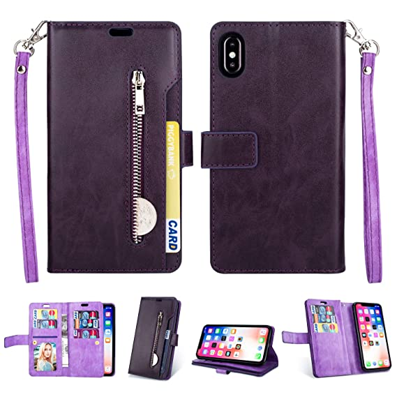 reputable site 5825b e742c iPhone Xs Max Case, iPhone Xs Max Wallet Case,FLYEE 10 Card Slots Premium  Flip Wallet Leather Magnetic Case Purse with Zipper Coin Credit Card Holder  ...