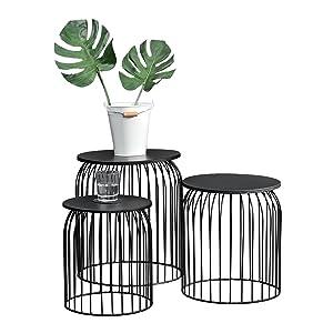 [en.CASA] Panier métallique de Style en kit de 3 - Design Table d'appoint/Table de Salon Noir métal