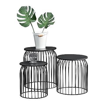 Beistelltisch metall  [en.casa] Stylischer Metallkorb im 3er Set - Design  Beistelltisch/Couchtisch Schwarz Metall