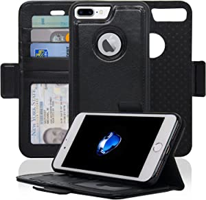 Navor Detachable Magnetic Wallet Case RFID Protection, Logo Hole, Compatible for iPhone 7 Plus [Vajio Series] Black (IP7PVJBK)