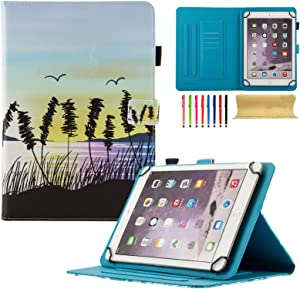 Uliking Universal Case for 7.5-8.5 inch Andriod iOS Tablet, PU Leather Stand Cover with Card/Stylus Slots for Fire HD 8, iPad Mini 1/2/3/4, Galaxy Tab E 8.0/Tab A 8.0/Tab S2 8.0, etc, Beach Sunset