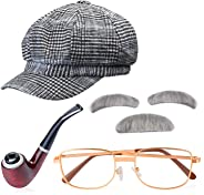 Beelittle Old Man Costume Grandpa Accessories Men Beret Hat Glasses Moustache Eyebrows Set