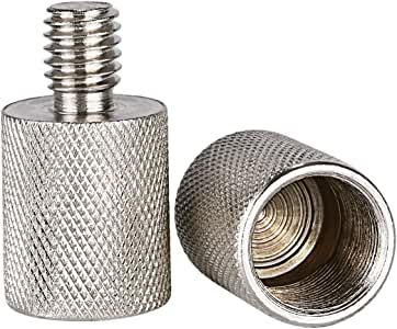 Neewer Nickel Brass Durable Solid 2 Pieces 3/8-inch Male to 5/8-inch Female Screw Thread Adapter for Microphone Mounts and Stands (Silver)