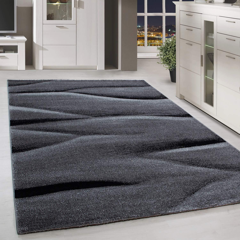 HomebyHome Moderner Design Teppich Kurzflor Abstrakt Linien Gemustert Wohnzim. Grau Schwarz Meliert, Größe 200x290 cm