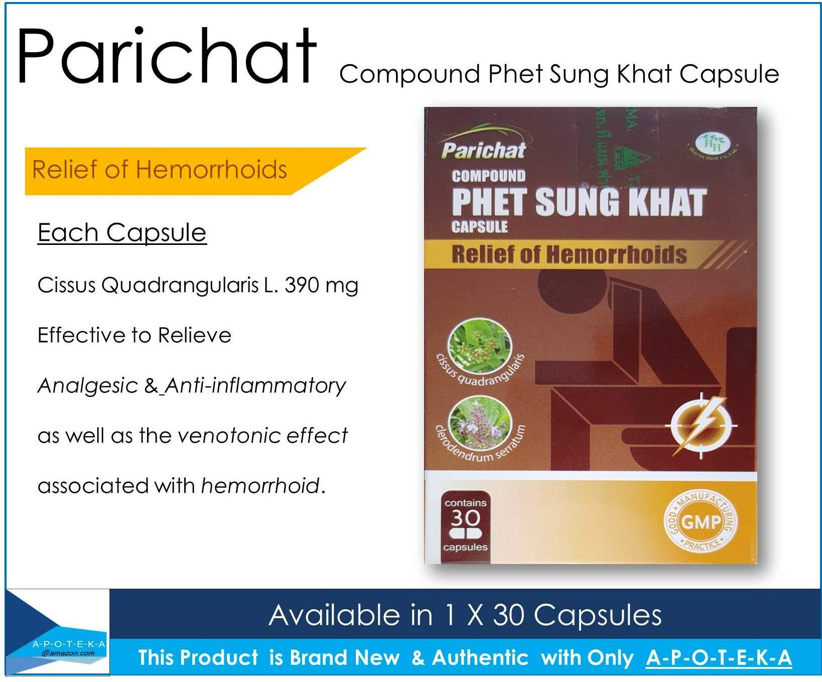 Natural Relief of Hemorrhoids Compound (Parichat Phet Sung Khat 1 X 30 Capsules) Contains Cissus Quadrangularis L. 390 mg Effective to Relieve analgesic and anti-inflammatory activities of hemorrhoid