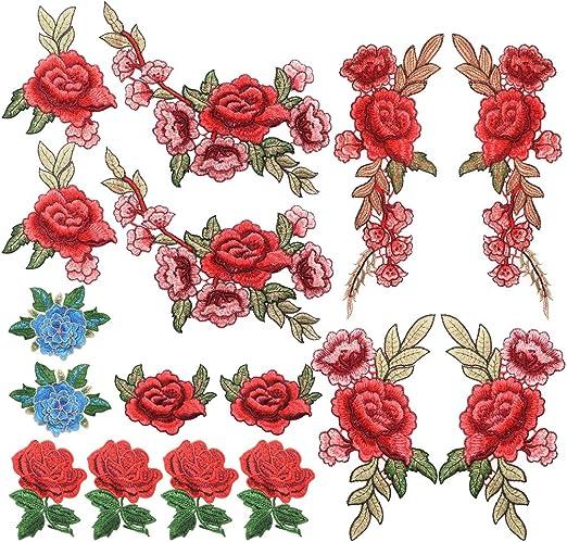 Homgaty Parches bordados de flores de rosas, 16 piezas, con encaje, tela floral, para coser sobre bordado, diseño de parche para ropa, vaqueros, chaquetas, bolsas.: Amazon.es: Hogar