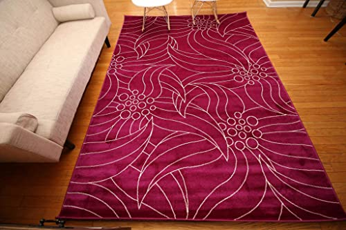 Feraghan New City New Floral City Contemporary Modern Area Rug, 7 x 10 , Purple White