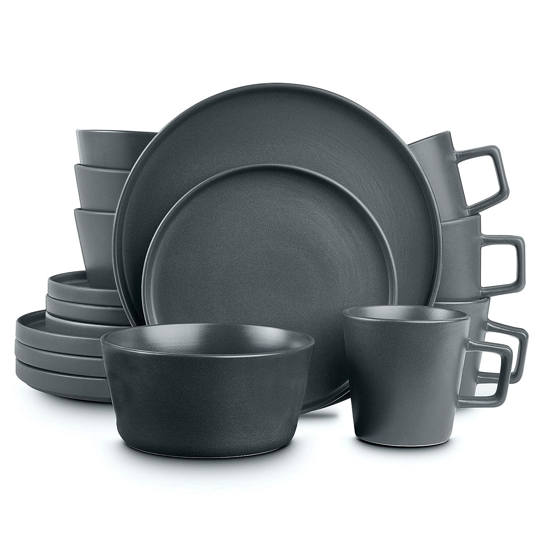 Stone Lain Coupe Dinnerware Set, Service For 4, Gray Matte