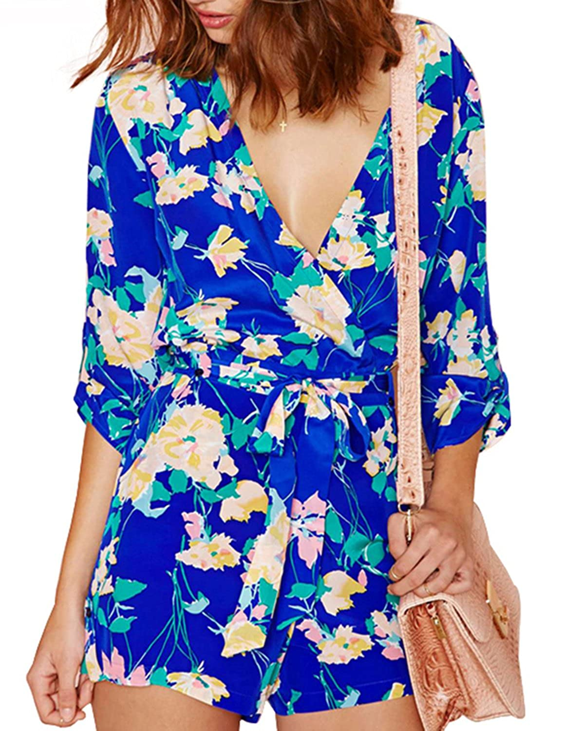 HaoDuoYi Womens Sexy Floral Print Wrap Tie Waist Romper Jumpsuit
