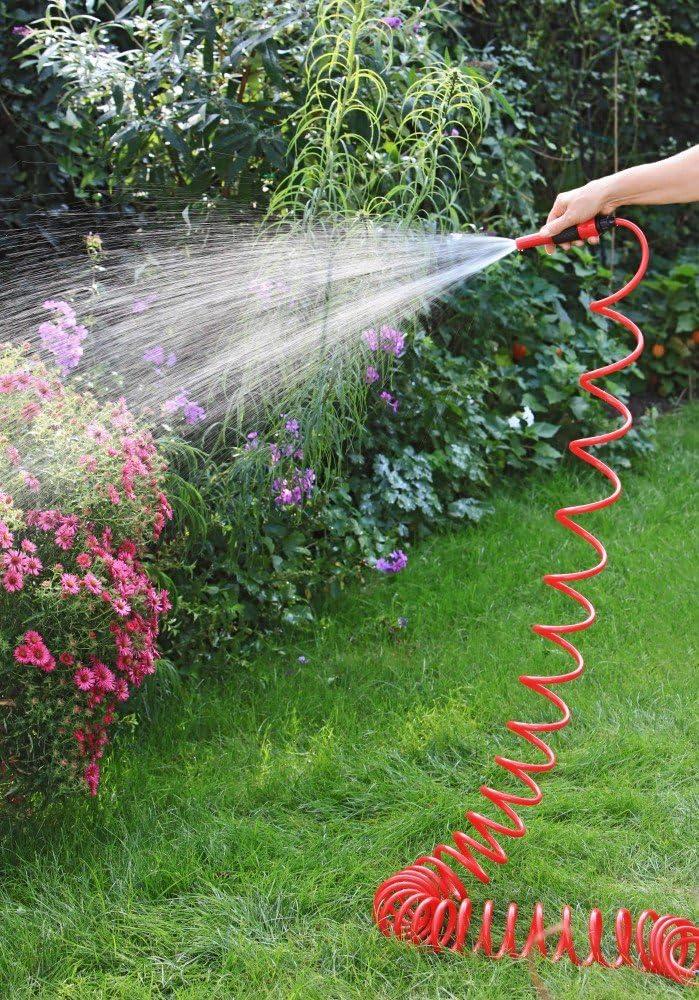 Manguera espiral 1Plus prémium de jardín, 10 m, con cabezal pulverizador regulable y accesorios, en diferentes colores: Amazon.es: Jardín