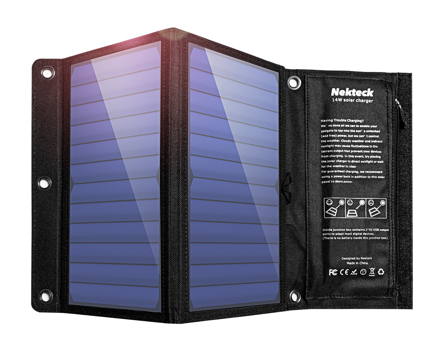 Nekteck 14W Solar Charger with 2-Port USB Charger Build with High efficiency Solar Panel Cell for iPhone 6s / 6 / Plus, SE, iPad, Galaxy S6/S7/ Edge/ Plus, Nexus 5X/6P, any USB devices, and more by Nekteck (Image #1)