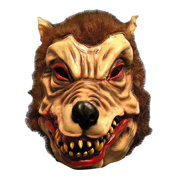 Scream Machine - Máscara de hombre lobo de látex para disfraz (Talla Única/Marrón