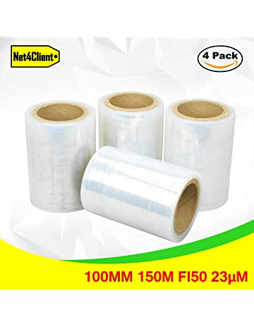 Net4Client Paquete de 4 Rollos de Envoltura Elástica Transparente por Cajas de Embalaje de Paquetes Envoltura