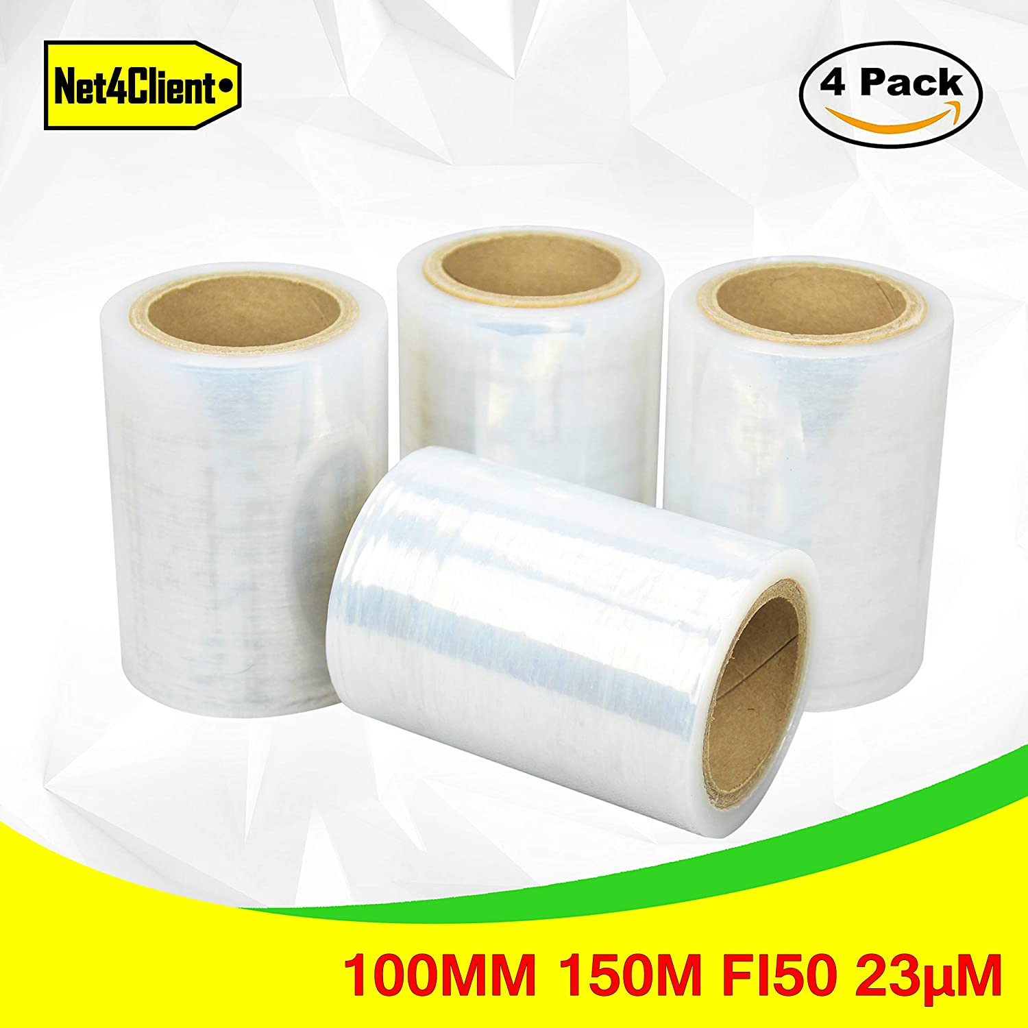 4 x Pack Strong Clear stretch Wrap by NET4CLIENT ® buona qualità impermeabile nastro adesivo foil Pro Stretch Packaging film in rotoli, 100 mm x 150 m x 23ΜM 100 mm x 150 m x 23ΜM