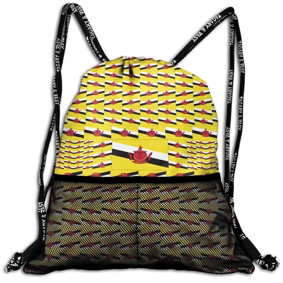 Brunei Flag Durable Sport Drawstring Backpack for School Soccer Yoga