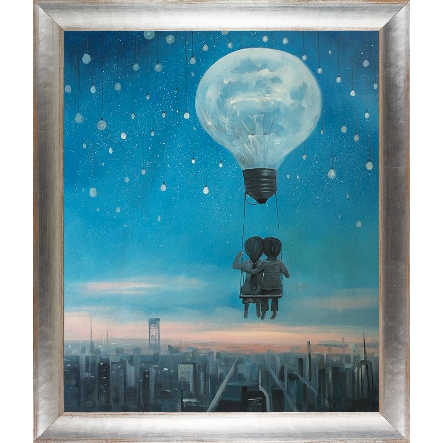 overstockArt Our Love Will Light the Night by Adrian Borda Framed Hand Painted Oil Reproduction