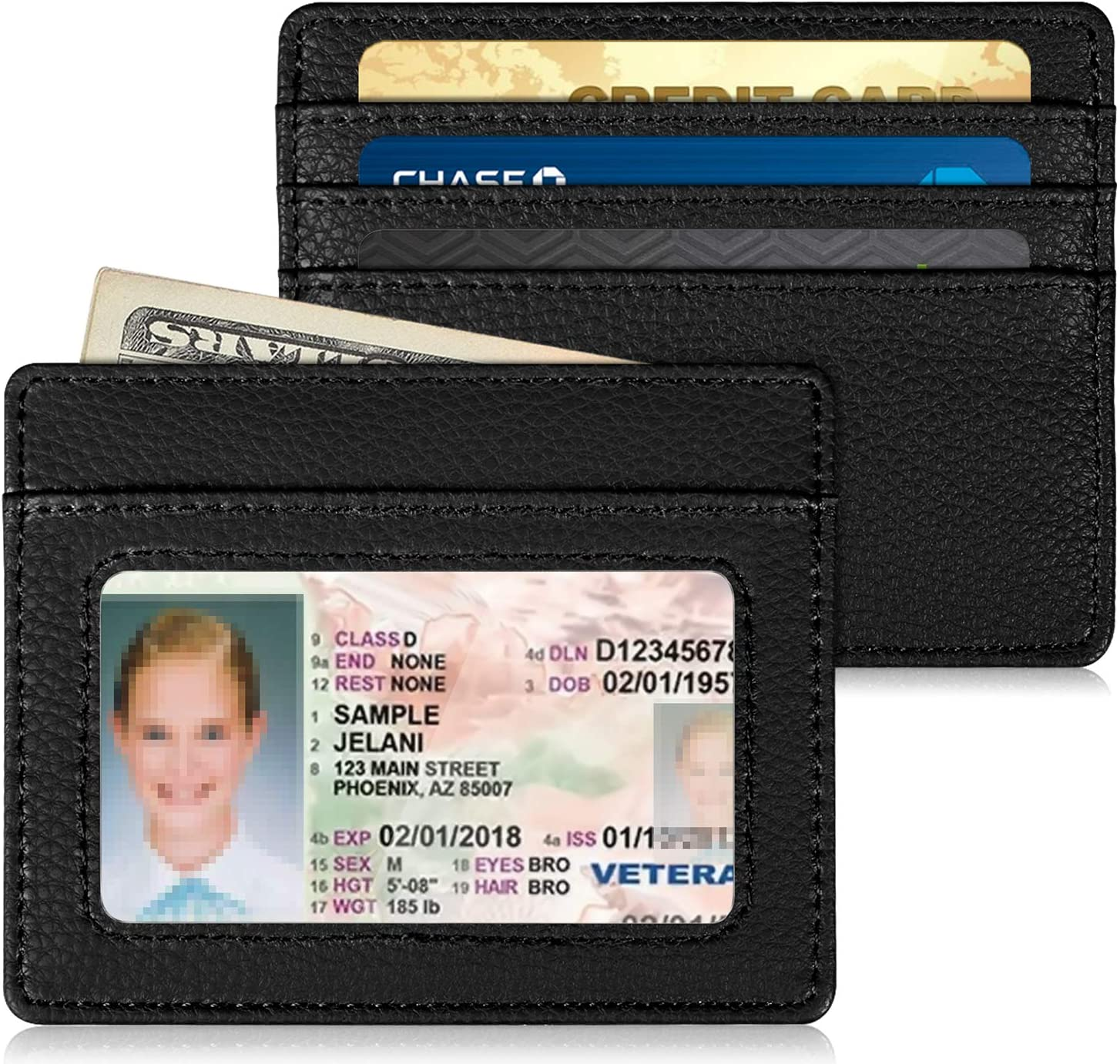 Wallet Front Pocket Slim Window Card Case with RFID Blocking Synthetic Leather