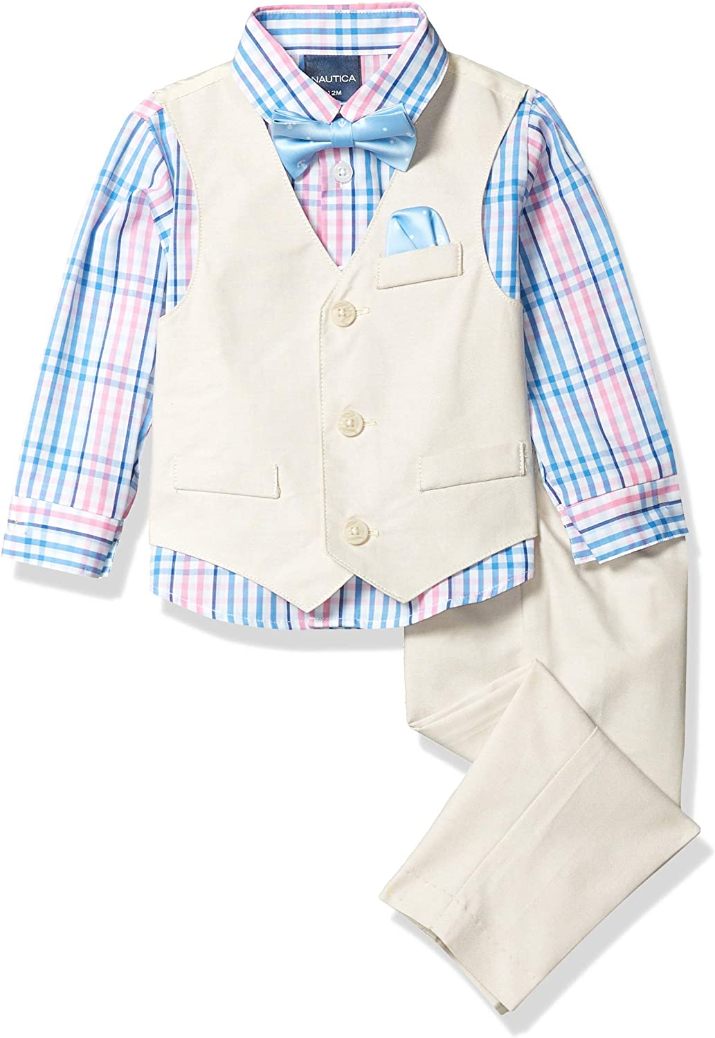 and Bow Ties Nautica Baby Boys 4-Piece Set with Dress Shirts Vests Pants