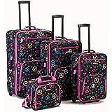Rockland Fashion Softside Upright Luggage Set, Peace, 4-Piece (14/19/24/28)