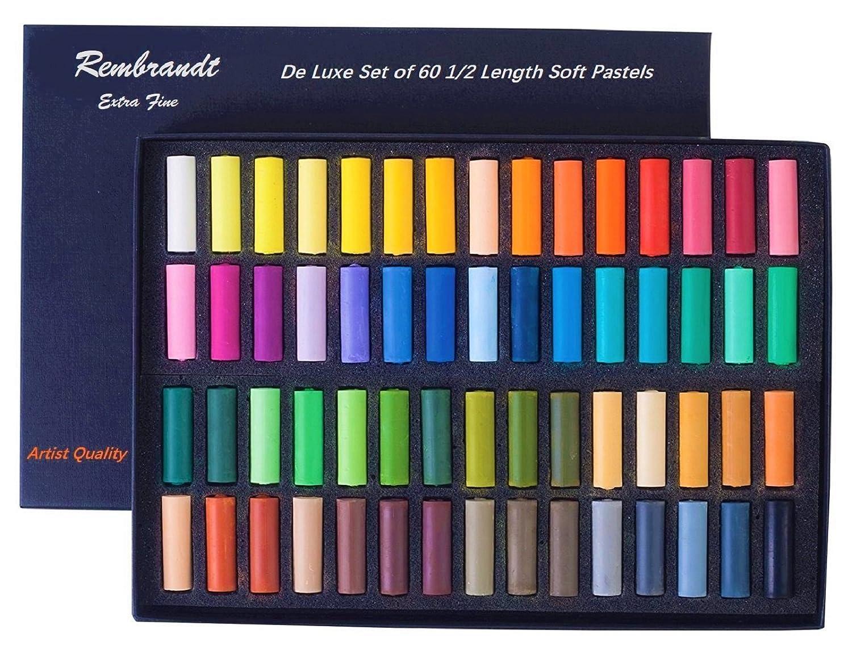 Rembrandt Soft Pastel Cardboard Box Set,De Luxe Set of 60 1/2 Length Soft Pastels REMBRANT Espace Beaux Arts