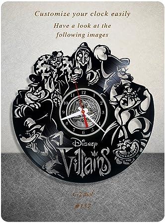 Disney Villains vinyl clock, vinyl wall clock, vinyl record clock, walt disney clock maleficent the evil queen jafar captain hook scar gaston wall art home decor kids gift 157 – c2