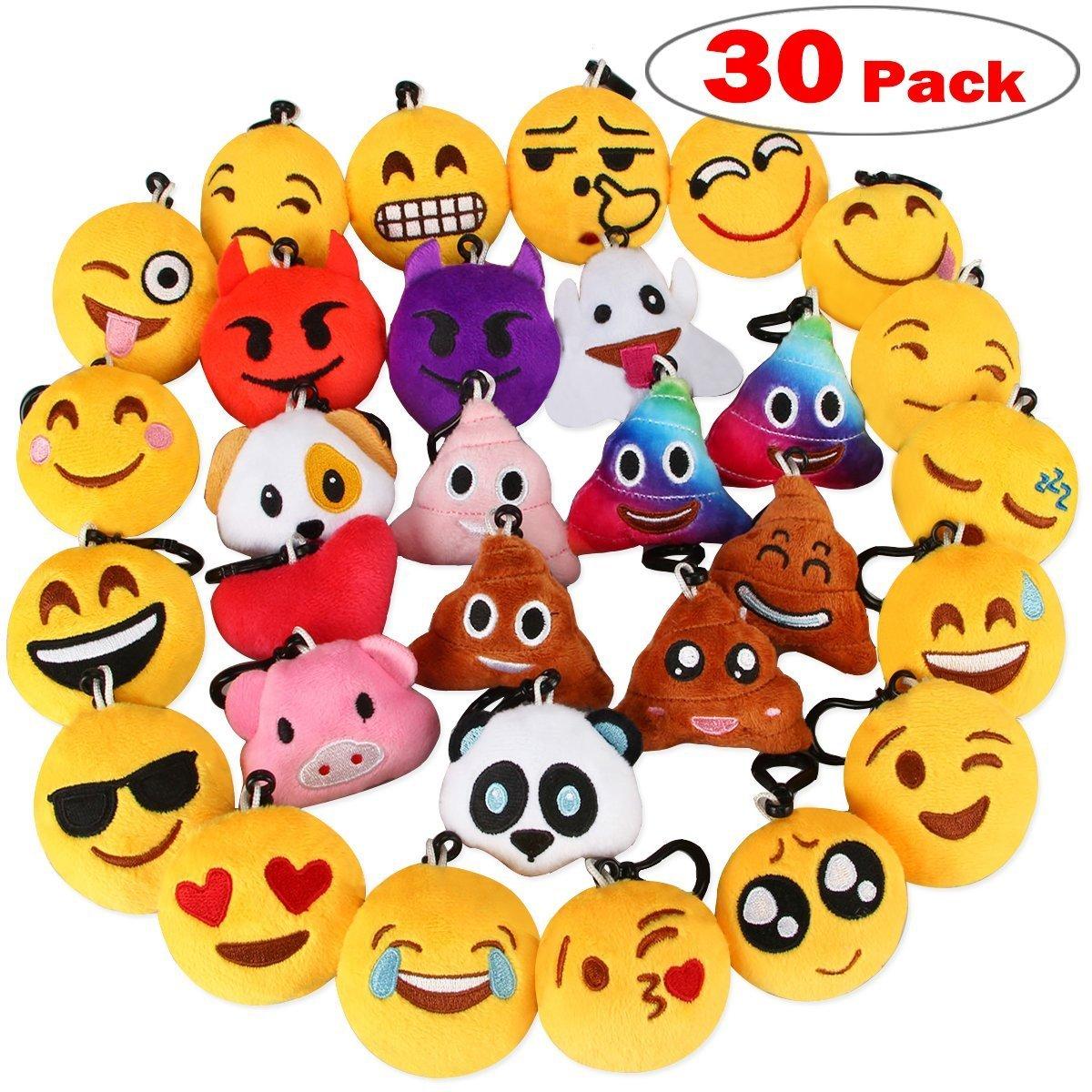 Dreampark Emoji Keychain, Emoji Key Chain Mini Plush Poop Pillows, Party Favors for Kids, Christmas / Birthday Party Supplies 2'' Set of 30