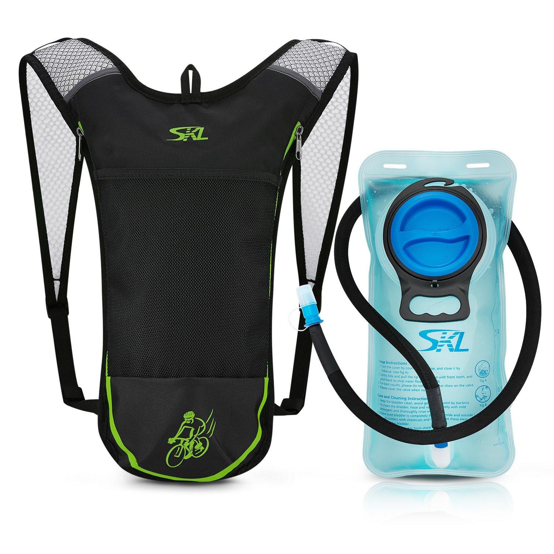 SKL Mochila de hidratación deportiva con bolsa de agua de 2 litros sin PBA para correr, ciclismo, senderismo, escalada, esquí, caza, bolsa (negro) SKL Sport BP-0514