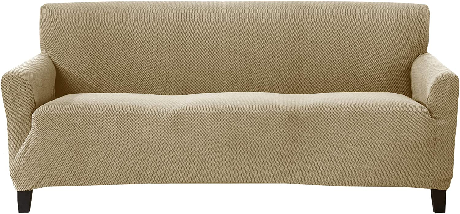 Textured Stretch Sofa Slipcover. Form Fit, Slip Resistant, Strapless Slipcover. Knitted Jacquard Stretch Arm Chair Slipcover. Theo Collection (Sofa, Nougat)