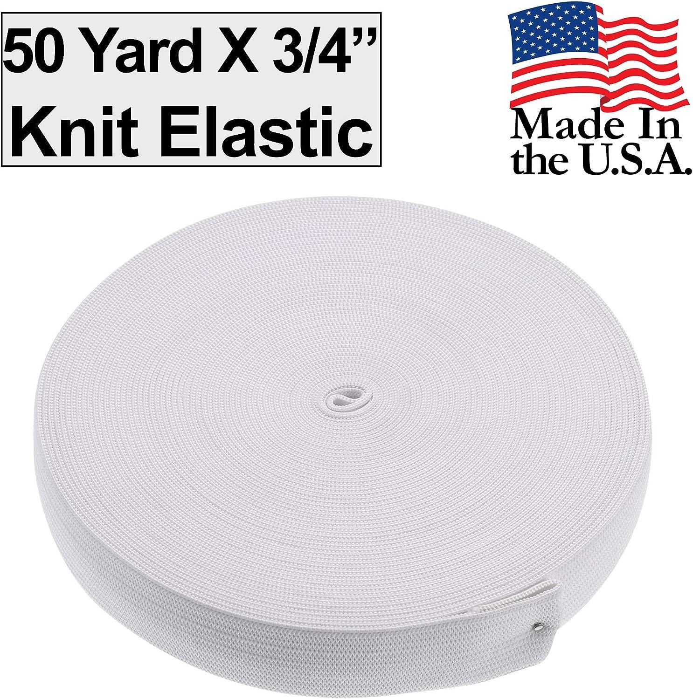 White Stretch Craft Elastan Knit Roll 50 Yard X 1-1//2 Inch Made in USA Barcelonetta Elastic Band Cord Sewing Elastic