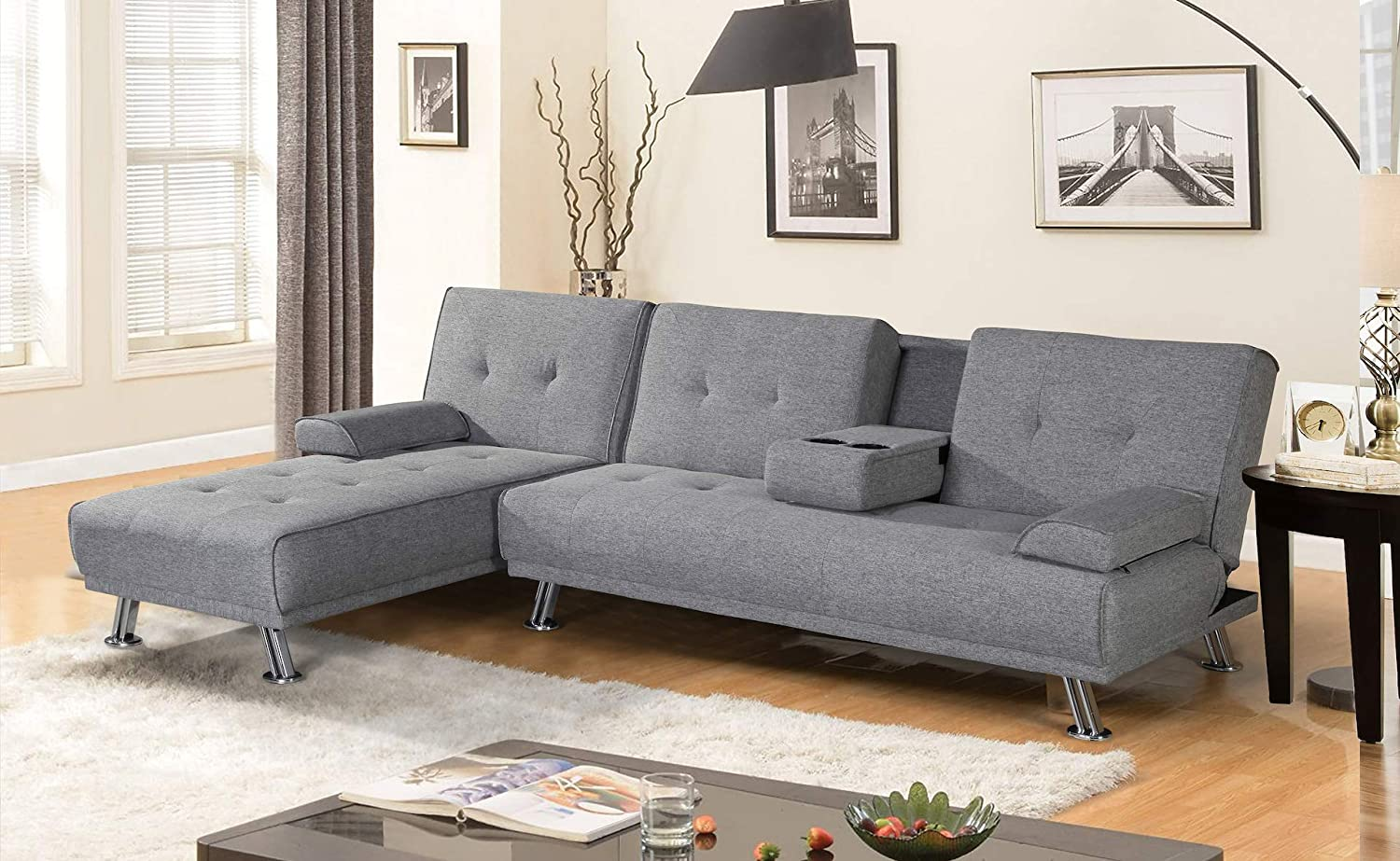 Amazoncom Broyerk Mixed Grey Sectional Sofa Bed Kitchen Dining