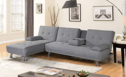 BroyerK Mixed Grey Sectional Sofa Bed