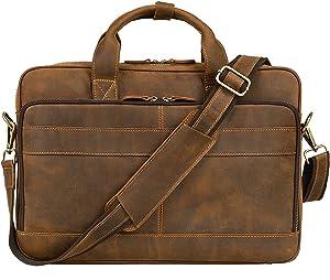 Jack&Chris Men's Genuine Leather Briefcase Messenger Bag Attache Case 14