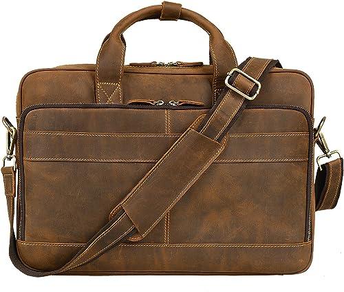 Jack Chris Men s Genuine Leather Briefcase Messenger Bag Attache Case 14 Laptop, MB005B