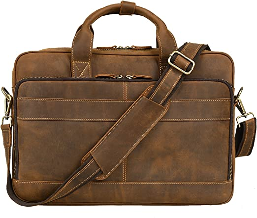 LB1 High Performance Leather Unisex Business Messenger Bag Briefcase Bag for Apple MacBook Pro MD101LL//A 13.3-Inch Laptop Newest Version Brown