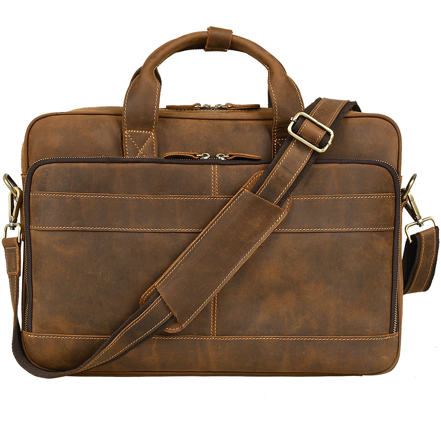 Jack&Chris Men's Genuine Leather Briefcase Messenger Bag Attache Case 14″ Laptop, MB005B