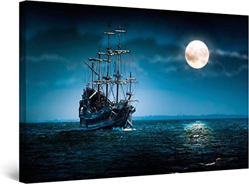 Startonight Canvas Wall Art Ship and Moon on Blue Sea Painting